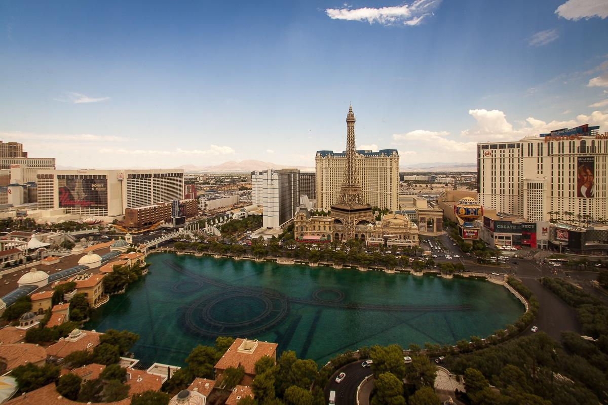 Blick vom Zimmer auf die Bellagio Fountains, Las Vegas